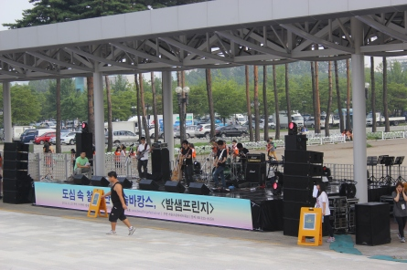 A band is preparing to perform
